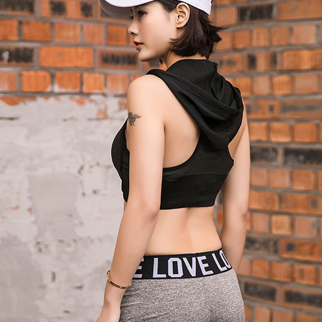 HEAL ORANGE Womens Running Vest Hooded Sports Bra Padded Corsets Gym Sports Vest Womens Tank Tops Bodybuilding Fitness Shirt