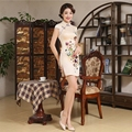 Fake Silk Chinese Traditional formal Dresses Women Cheongsam Party Qipao Dress Vintage Innovative Gift  for lady JS-MSF-0026