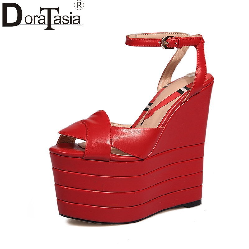 DoraTasia Big Size 33-42 Women Summer Shoes Woman brand design wedges High Heels Platform Party Wedding women Sandals sheepskin summer platform wedges party shoes for woman extreme high heels sexy wedding shoes woman comfort female shoes heel