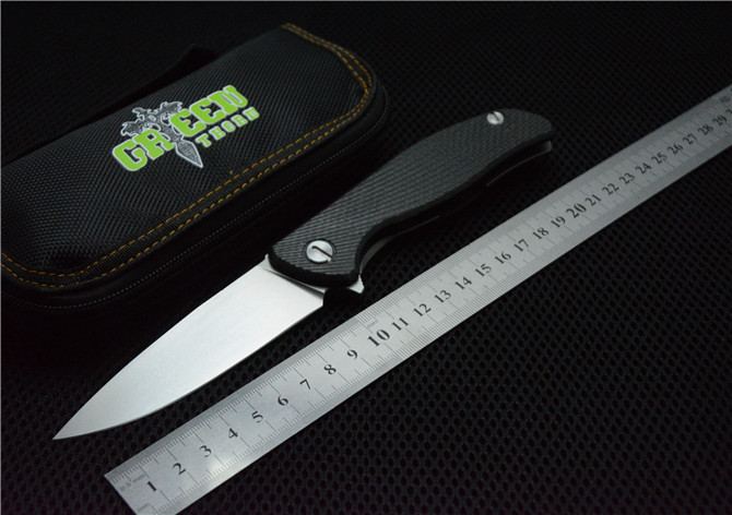 Green thorn 95 hati ball bearings folding knife S35VN blade carbon fiber titanium handle camping font