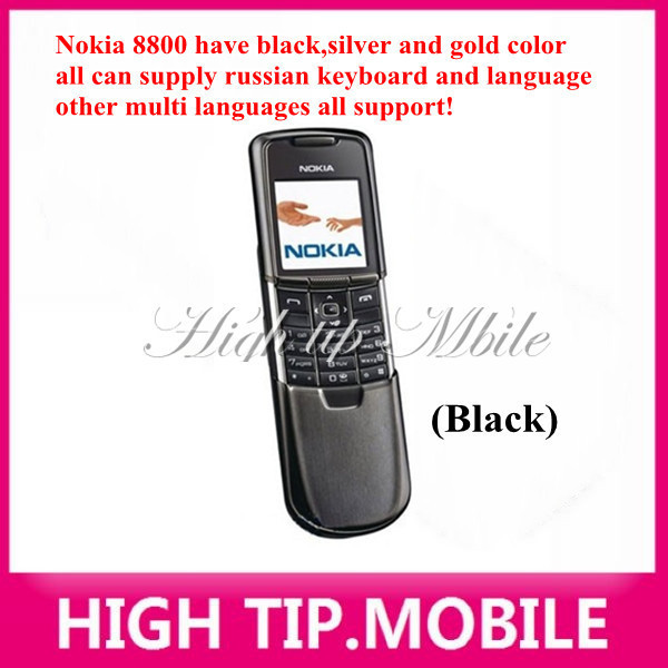 Nokia original 8800 gold cell phone English or russian keyboard with desktop charger leather case strap Freeship Refurbished 2