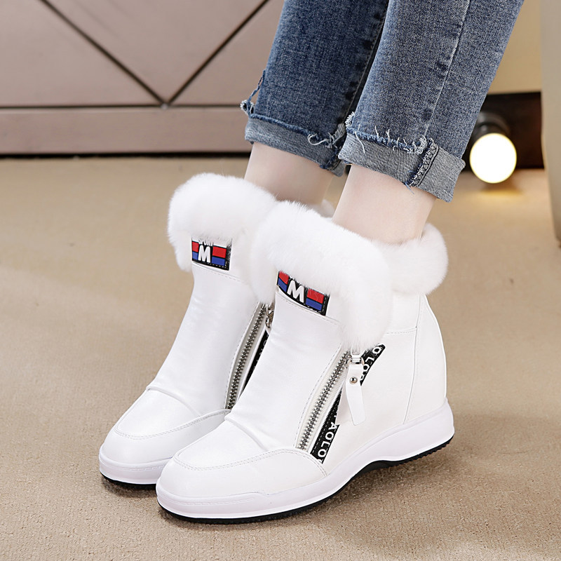 SWYIVY Woman Snow Boots High Top 2018 Winter Female Luxury Rabbit Fur Casual White Shoes Wedge Side Zipper Velvet Snow Boots