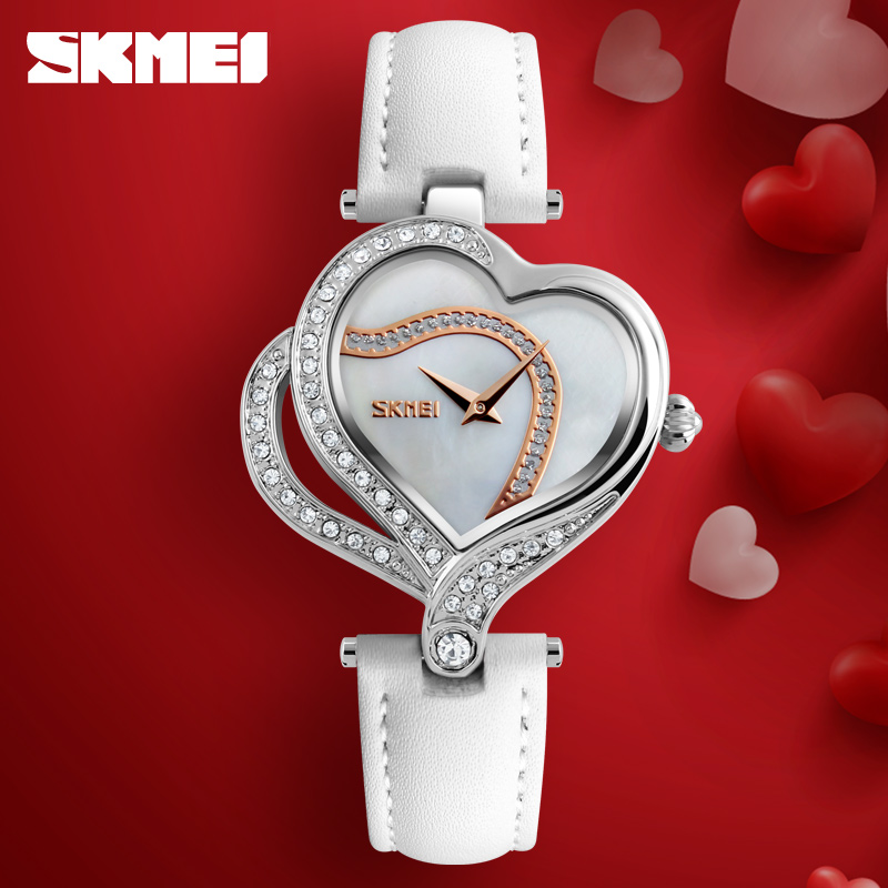 SKMEI Quartz Watch Women Luxury Brand Heart Shaped Crystal Watches Ladies Dress Leather Strap Wristwatch Clock montre femme skmei women watches leather strap quartz woman wristwatches top brand luxury ladies watch small dial 2018 new style montre femme