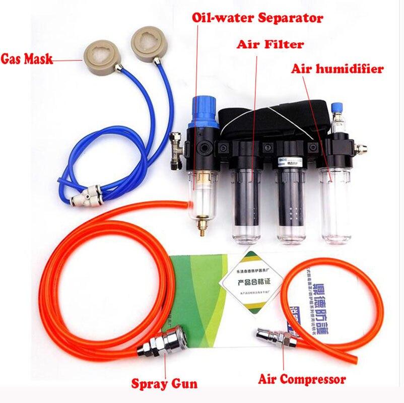 4 en 1 chimcial fourni Air alimenté respirateur système humidificateur pour 3 M 6200 6800 7502 série masque à gaz industrie
