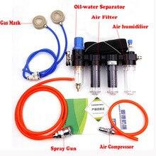 4 in 1 Chemicaliën Met Geleverd Air Fed Respirator Systeem luchtbevochtiger voor 3 M 6200 6800 7502 Serie Gezichtsstuk Industrie Gas masker