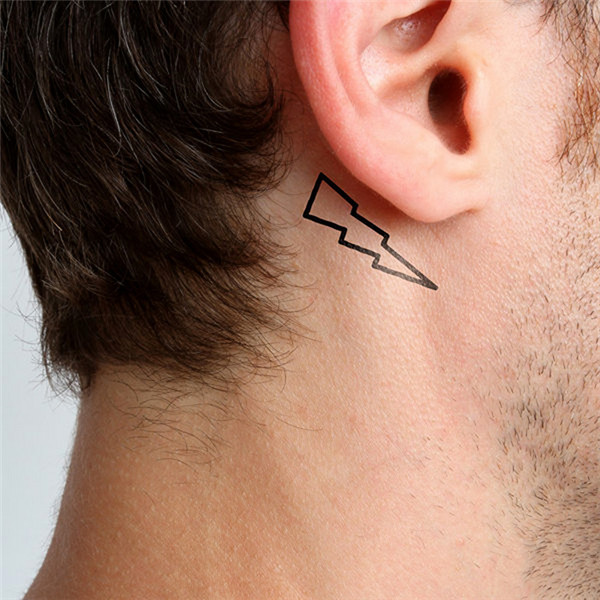 HC1084 Waterproof Temporary Tattoo Sticker Men And Women Sexy Of The Chest Ear Fake Tattoo Simple Lightning Design Flash Tattoo