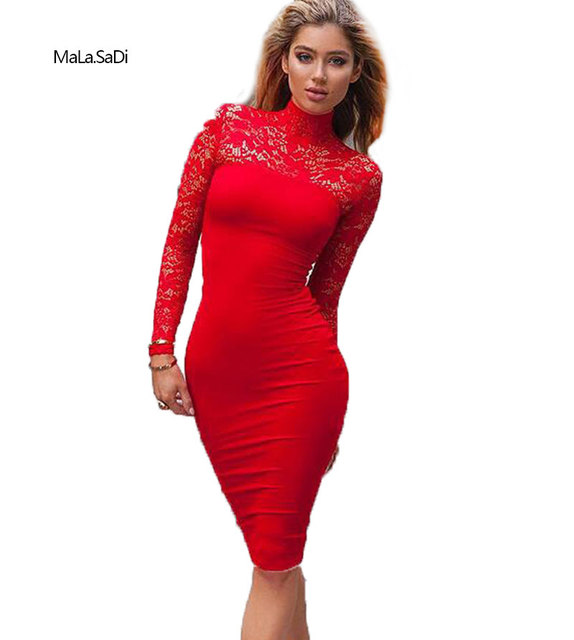 4137f304f Women Dress Fashion Sexy Lace Patchwork Bodycon Party Dresses White Red  Summer Long Sleeve Knee-Length Club Dresses
