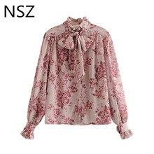Women Floral Print Oversized Summer Elegant Chiffon Blouse Bow Neckline Ruffles Sleeve Shirt Chic Top Blusas Mujer Camisas