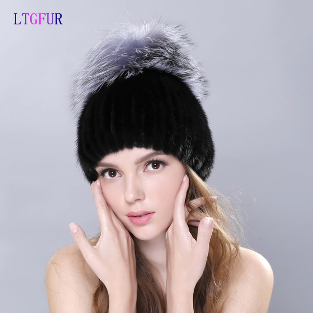 LTGFUR Россия зимние шапки Роскошный мех норки шляпа подлинной с всего silver fox меховой топ мода элегантные шапочки высокого класса женщин cap