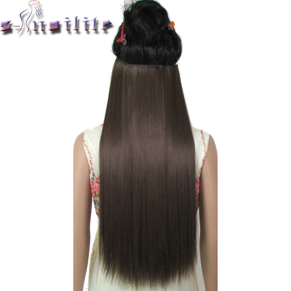 S-noilite Long Women Clip in One Piece Hair Extensions  18-30 inches Straight Black Brown red Auburn Synthetic Hairpiece sock