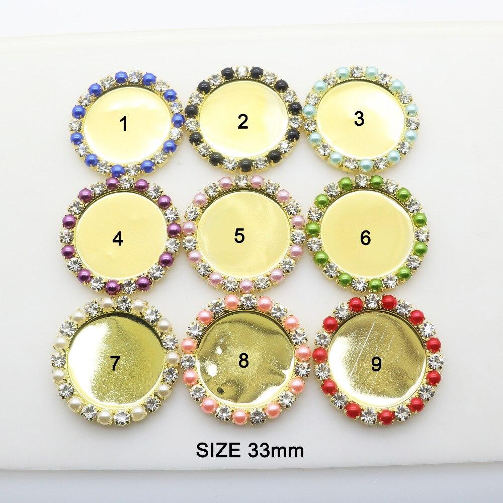 ZMASEY металлические пуговицы 33 мм 10 шт./лот круглых кнопок швейная кнопку аксессуары ручной работы со стразами красивое сочетание Цвет