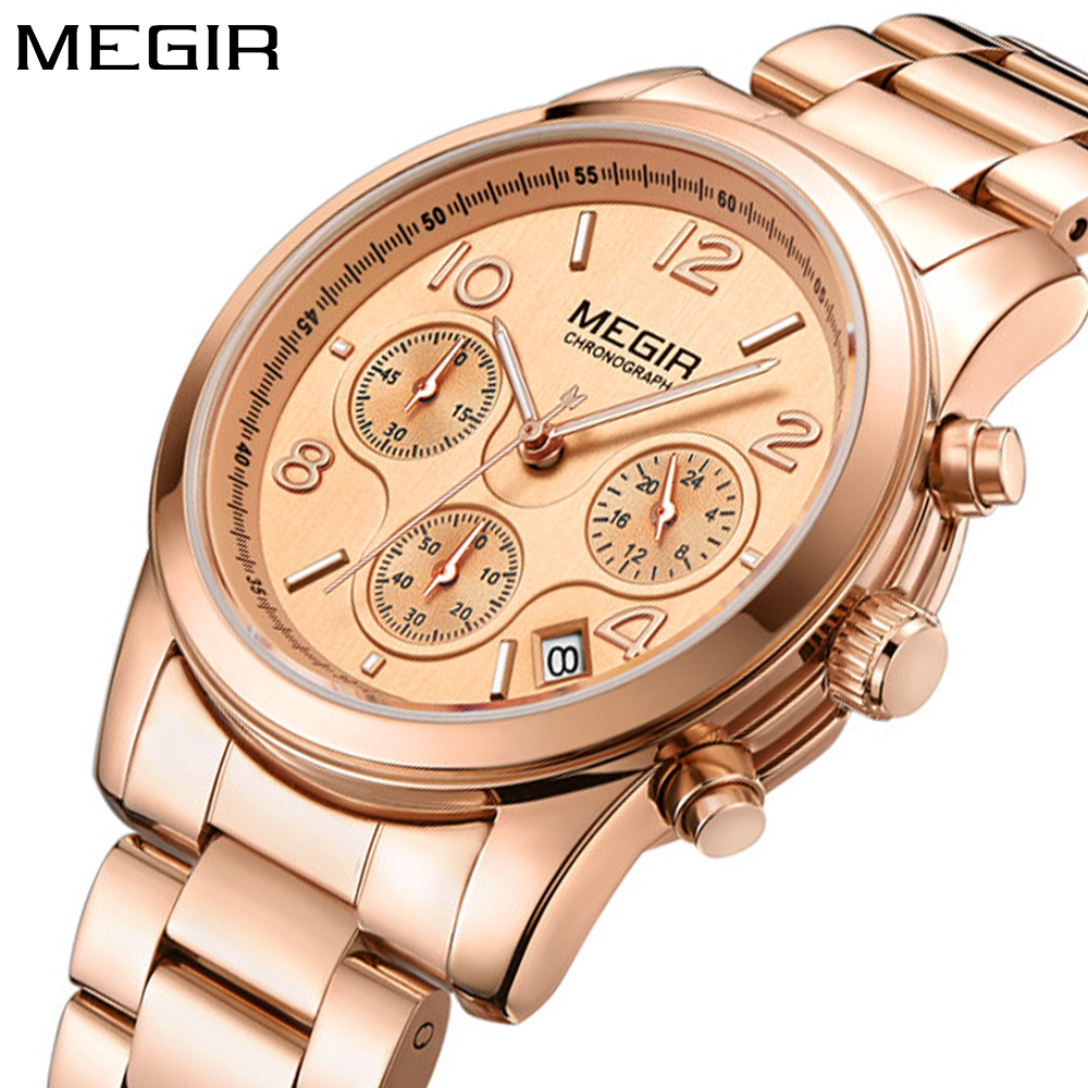 MEGIR Luxury Rose Gold Date Chronograph Fashion Sport Watch Women Top Brand Female Steel Dress Business Ladies Watches Clock