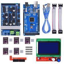 مجموعة أدوات التحكم بالطابعة ثلاثية الأبعاد ميجا 2560 Uno R3 أدوات تشغيل + سلالم 1.6 + 5 قطعة محرك متدرج DRV8825 + LCD 12864 Reprap