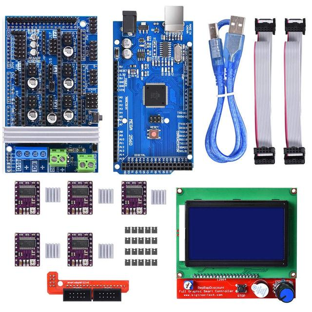 3D Printer Controller Kit Mega 2560 Uno R3 Starter Kits+RAMPS 1.6+5Pcs DRV8825 Stepper Motor Driver + LCD 12864 Reprap