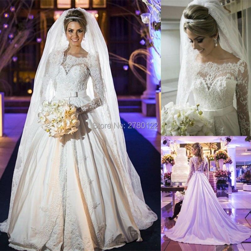 Vestido De Noiva 2016 à manches longues robes De bal ceintures Appliques robes De mariée personnalisé Scoop Court Train robes De mariée