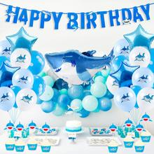 Shark Happy Birthday Party Decorations Marine Theme Favors for Kids 1st 2nd 3rd 4th 5th 6th 10th Supplies
