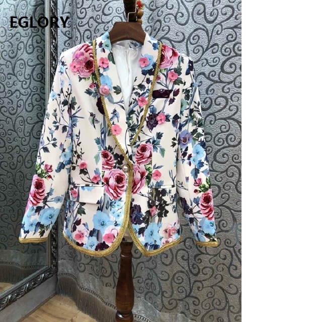 High Quality Blazer 2019 Spring Autumn Fashion Jacket Women Notched Collar Appliques Flower Beading Long Sleeve Casual Tops Coat