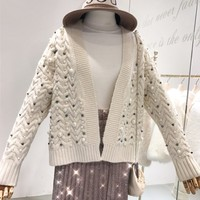 ALPHALMODA 2018 Vogue Fashion Pearl Cardigans Long Sleeved Twisted Knitted Women Elegant Sweater Outfit