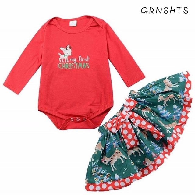 256c5859777a 2Pcs Newborn Infant Baby Girl Clothing Cotton My First Christmas Romper Tops +Shorts Skirts Sets Dresses For Kids Girls Clothes