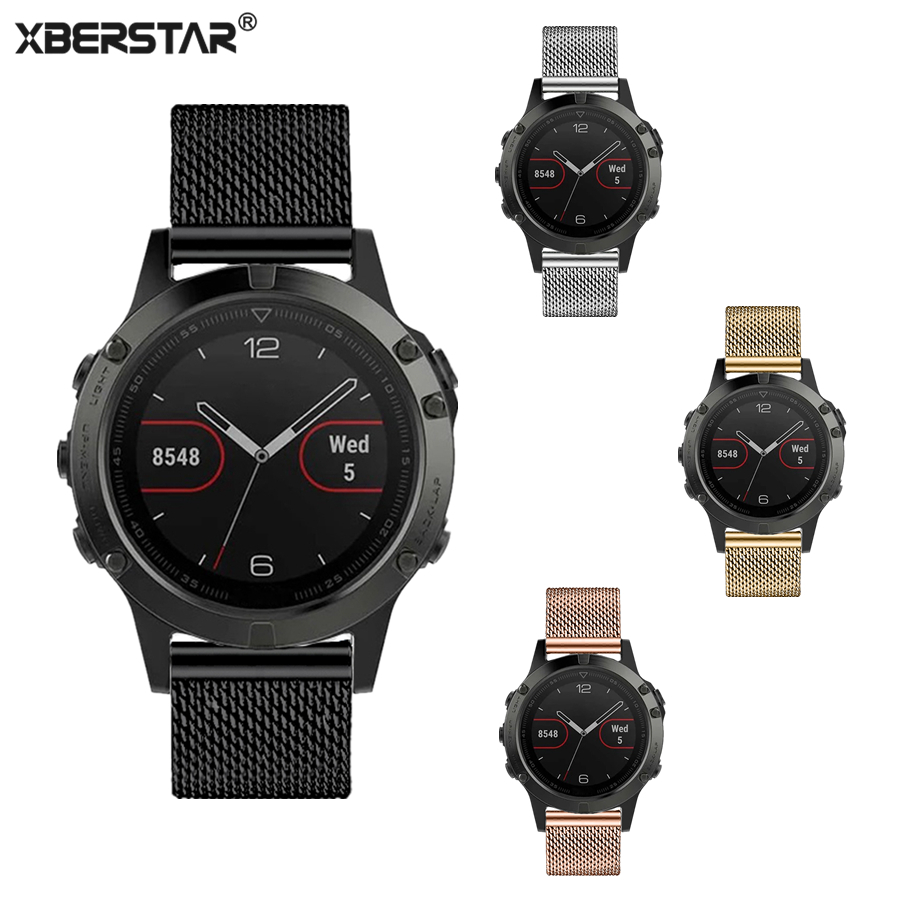 XBERSTAR Milanese Watchband for Garmin Fenix 5 Multisport GPS Watch Stainless Steel Watch Band Strap 4 Colors for fenix 5 12 colors 26mm width outdoor sport silicone strap watchband for garmin band silicone band for garmin fenix 3 gmfnx3sb