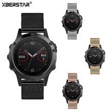 Xberstar milanese correa para garmin fenix 5 multideporte gps reloj de acero inoxidable reloj de la correa 4 colores para fenix 5