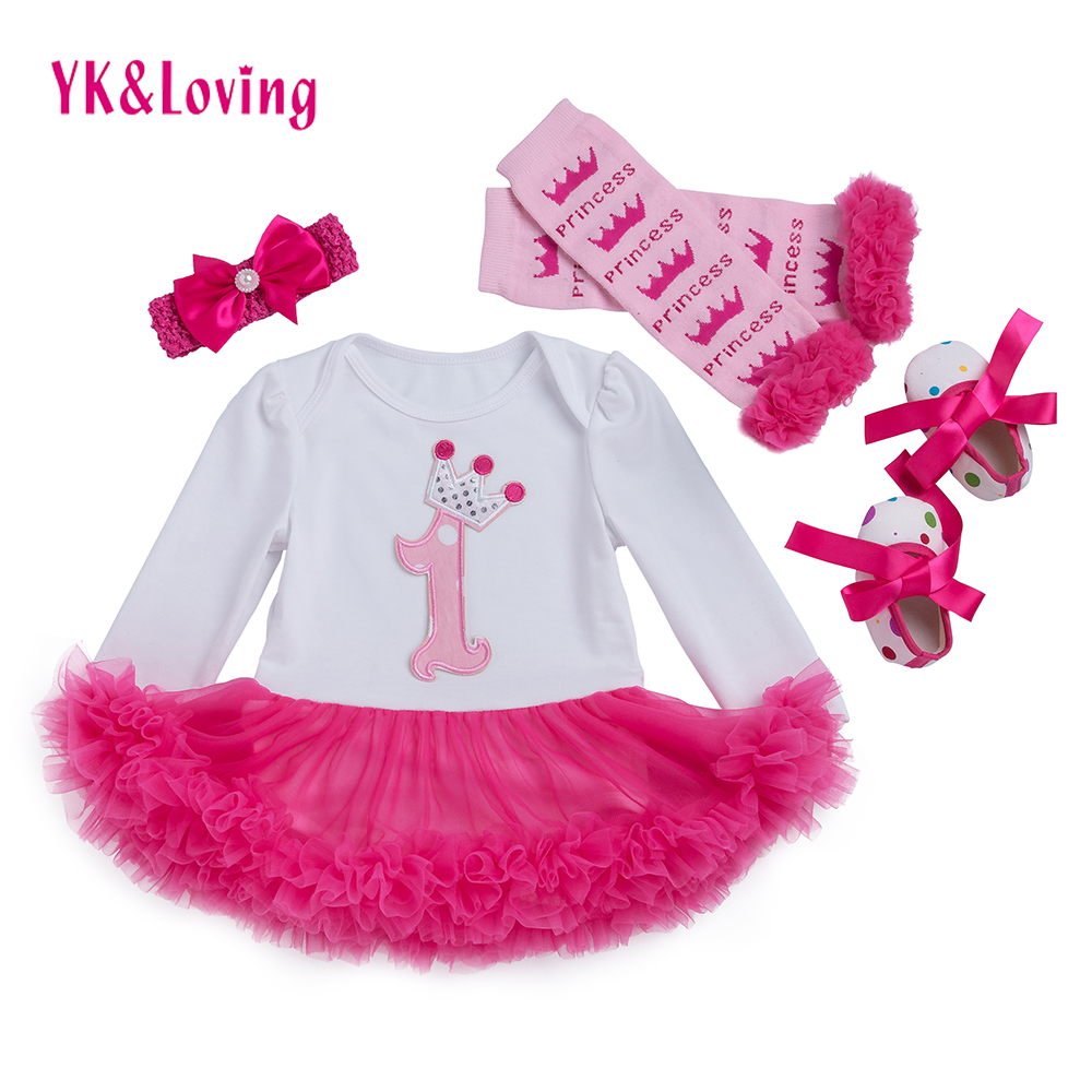 Baby Girl 4pcs Clothing Sets long sleeve cotton rose red Tutu Romper Dress/Jumpsuit Infant Christmas Birthday Costumes Clothes