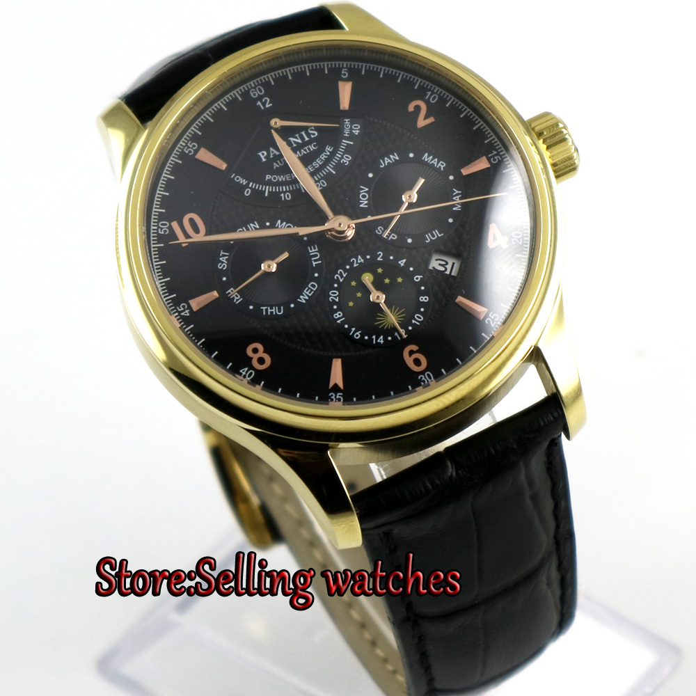 42mm parnis Black dial Black strap Gold case Multifunction Sapphire Glass 26 jewels miyota 9100 Automatic mens Watch 42mm parnis black dial multifunction sapphire glass black leather strap 26 jewels miyota 9100 automatic mens watch