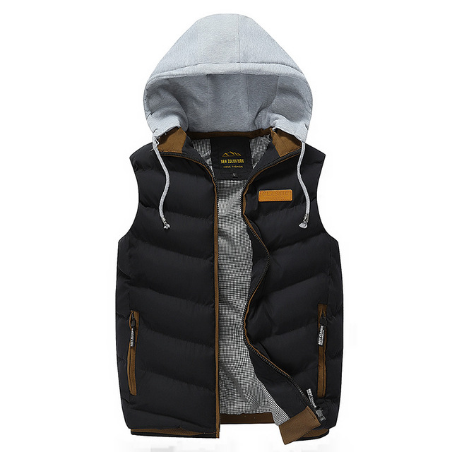 The new 2016 hooded Silk cotton leisure vest male winter of cultivate one's morality   pure color vest