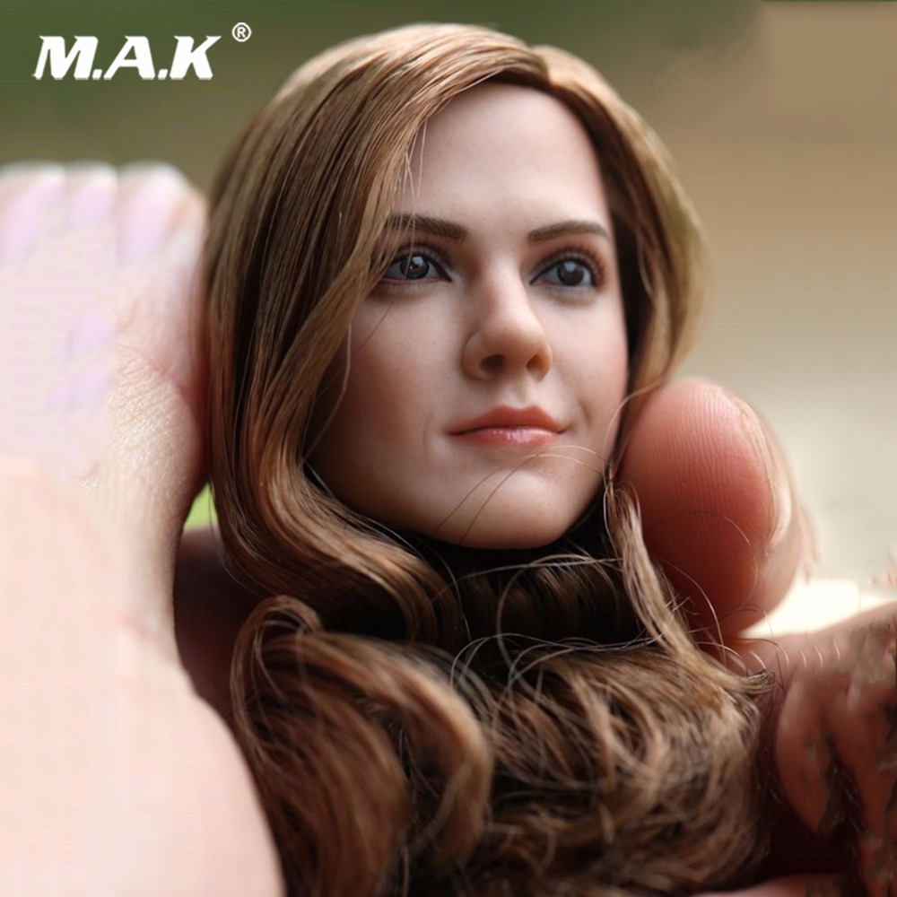 1/6 Scale Emma Watson Head Sculpt W Long Curls Hair Fit for 12 inches Femal body aisi hair 1b 6 inches