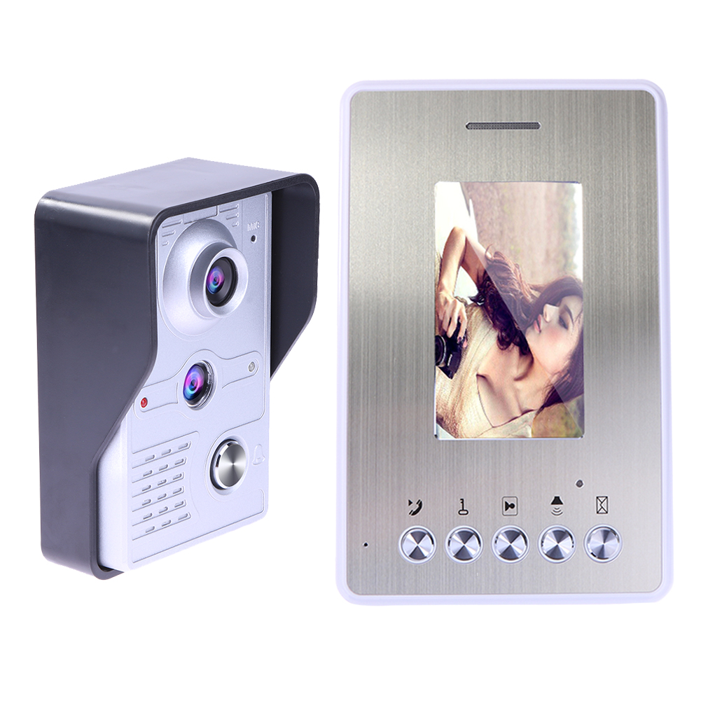4.3 Inch  TFT Video Door Phone Doorbell Intercom Kit System 1 Camera 1 Monitor Night Vision FreeShipping  NG4S tmezon 4 inch tft color monitor 1200tvl camera video door phone intercom security speaker system waterproof ir night vision 4v1
