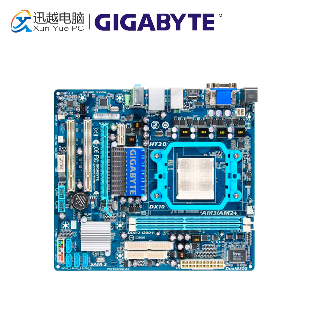 Gigabyte GA-MA78GME-S2H Desktop Motherboard MA78GME-S2H 780G Socket AM2 DDR2 SATA2 USB2.0 Micro ATX for gigabyte ga ma78g ds3hp original used desktop motherboard for amd 780g socket am2 for ddr2 sata2 usb2 0 atx