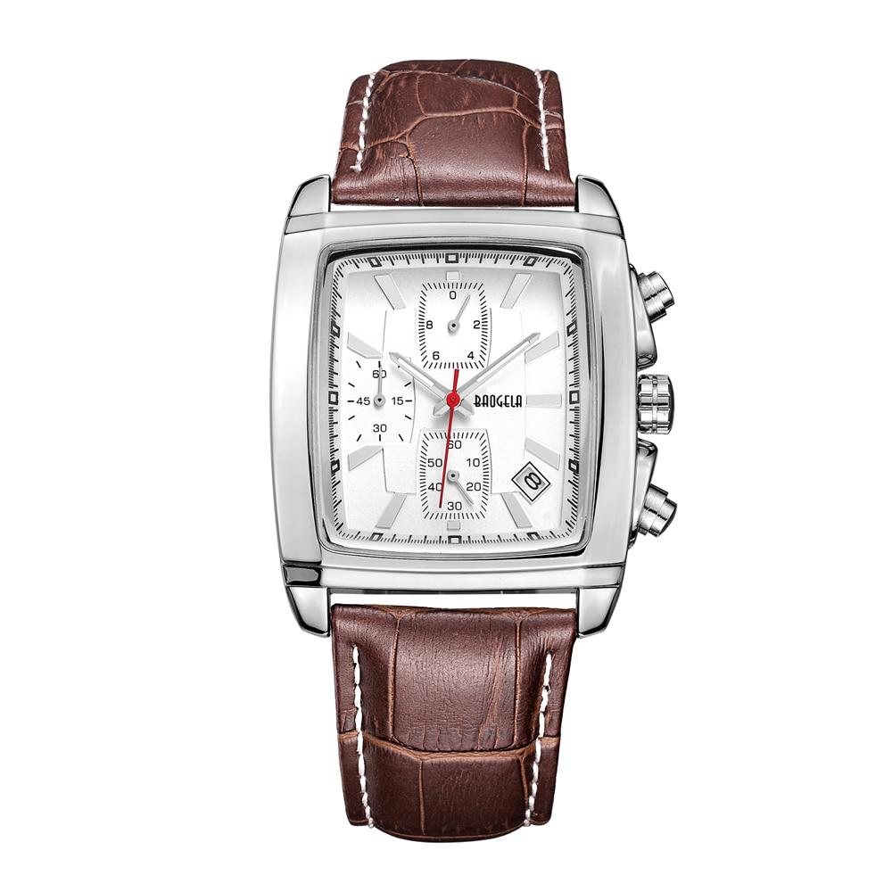 Baogela Classy Retro Vintage de acero inoxidable de la caja de cuero del rectángulo de la venda de cuero vestido de lujo reloj relogio masculino