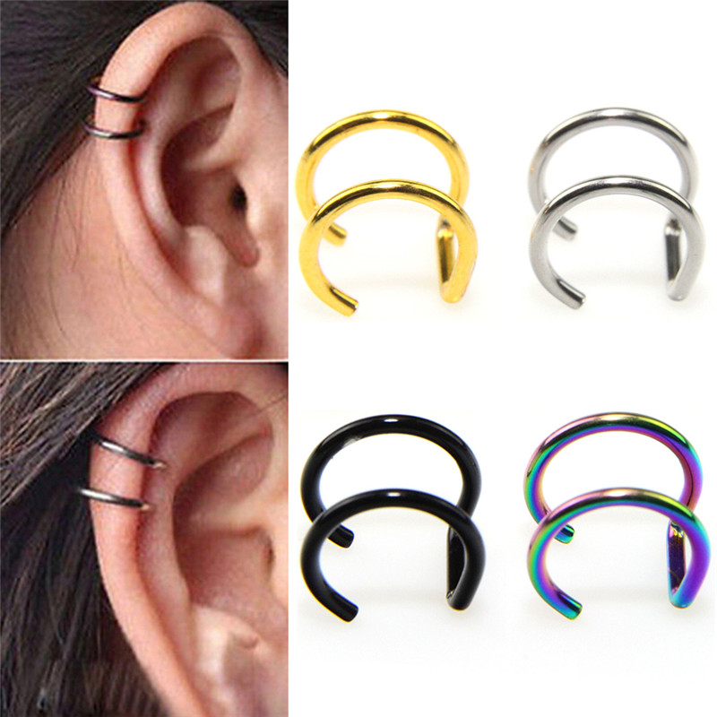 1 Pair Punk Rock Style Earrings Without Piercing Holder Hollow U Pattern Statement Jewelry Neutral 4 Colors
