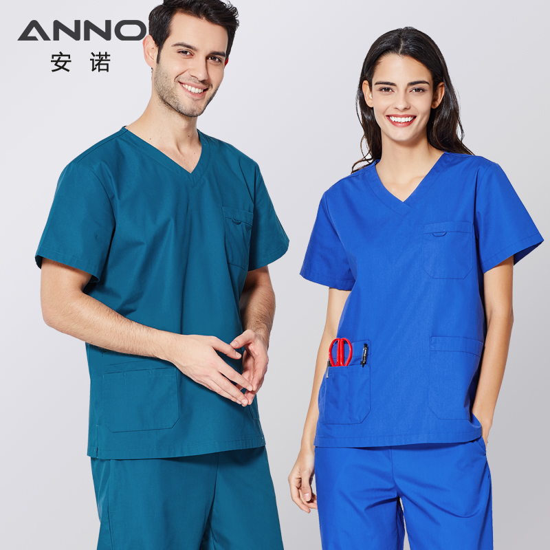 ANNO Short Sleeves Nurse Uniform For Women&Man Medical Scrubs Set Surgery Clothing Doctor Suit Hospital Surgical Gown
