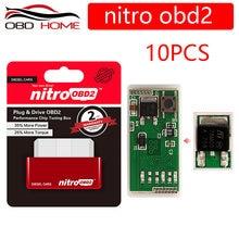 Caja de conexión de Chip de ajuste y unidad, Chips completos de Nitro OBD2 para benzina, 10 Uds., enchufe y controlador de rendimiento de coche diésel, 15%