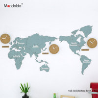 China Mandelda OEM Large Digital Wall Clock Electronic Modern Design Silent Commercial World Map Watches Hanging on Wall