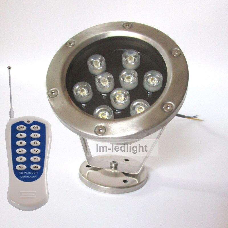 AC12V RGB LED pool light remote controller 9W led underwater light 2pcs