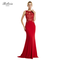 Belicia Couture Women Red Evening Dresses Open Back Elegant High Quality Formal Party Dress Mermaid Long
