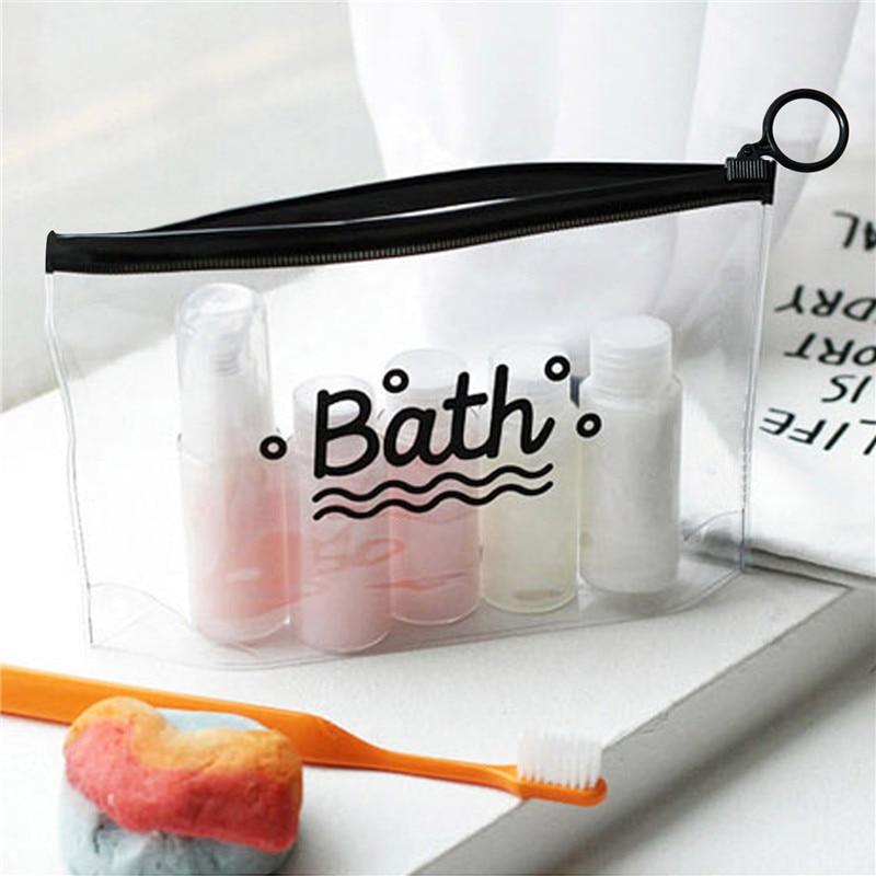 Waterproof Travel Cosmetic Bags PVC Transparent Women Portable Make Up Bag Toiletry Organizer Storage Makeup Bag Wash Pouch