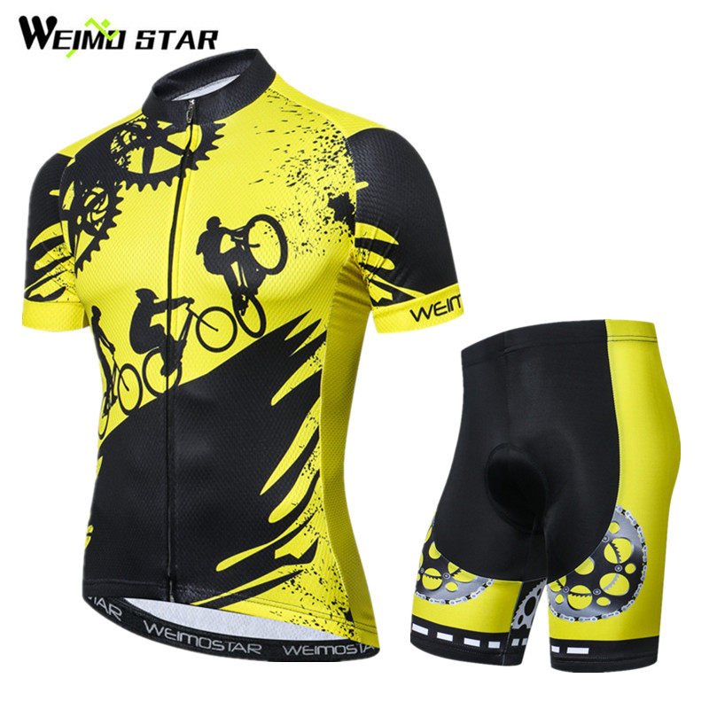 Weimostar 2018 Pro Team Yellow Cycling Jersey Set Summer Short MTB Bike Jersey Ropa Ciclismo Quick Dry Bicycle Cycling Clothing