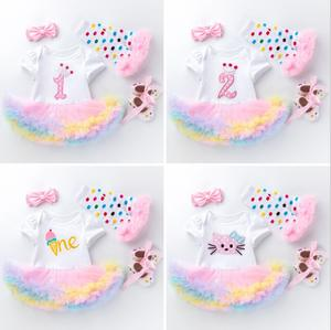 4PCs per Set Rainbow Ice Cream Baby Girls Crown 1st 2nd Birthday Party Dress Jumpersuit Headband Shoes Leggins for 0-24Months(China)
