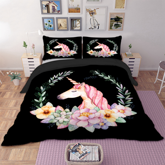 Black Unicorn Bedding Set Twin Full Queen Double Single Flowers Duvet Cover Set Animal Quilt Cover Bed Cover Pillow Cases 3PCS