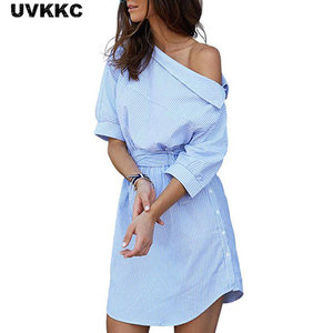 2018 Fashion one shoulder Blue striped women shirt dress Sexy side split Elegant half sleeve waistband Casual beach dresses