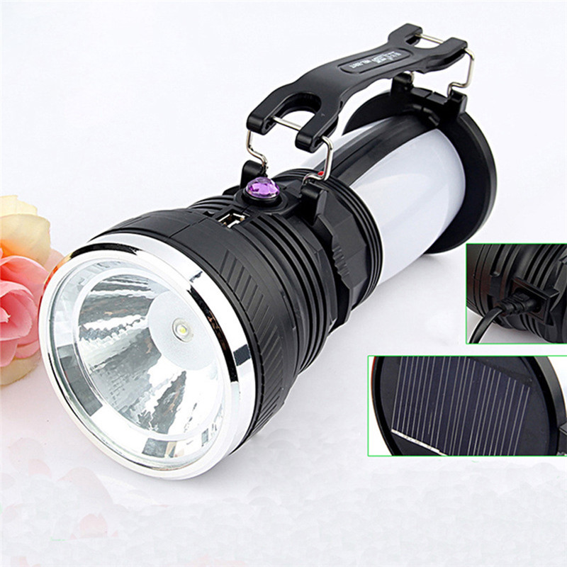 New Solar power led flashlight USB rechargeable outdoor hand Torch high power emergency flash lamp for camping fishing outdoor camping emergency light solar powered led flashlight self defense glare flashlight hammer torch light with power bank