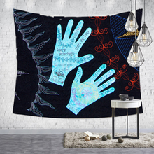 Loartee Psychedelic Witchcraft Tapestry Astrology Rune Hand Hippie Art Wall Hanging Decorative Print Picture Tapiz Blanket