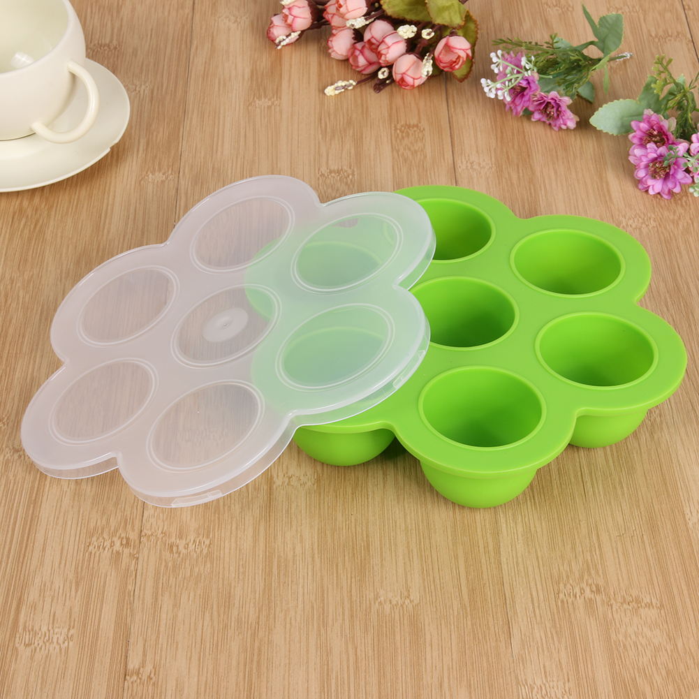 Baby Silicone Food Feeding Box Food Grade Kitchen Tools Silicone Ice Tray with Cover Ice Mold for Ice Jelly Chocolate Hot Sale