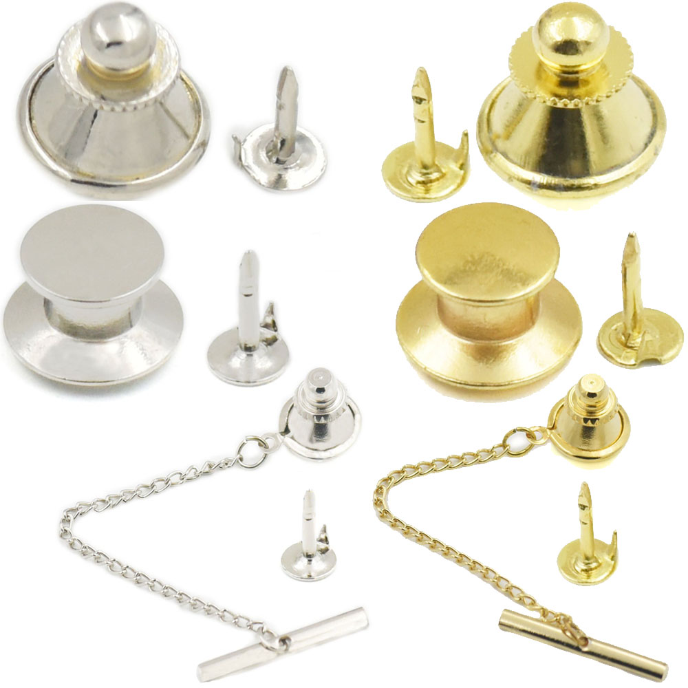 GOLD PLATED TIE TACK CLUTCHES WITH PIN  OR LAPEL PIN FINDING SET OF 5