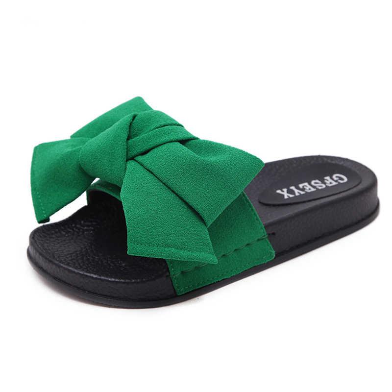 1597e896b6e2b ... Bow Slides Women Summer Bowknot Beach Shoes Woman Female Slippers Flats  Platform Comfort Flip Flops Ladies ...