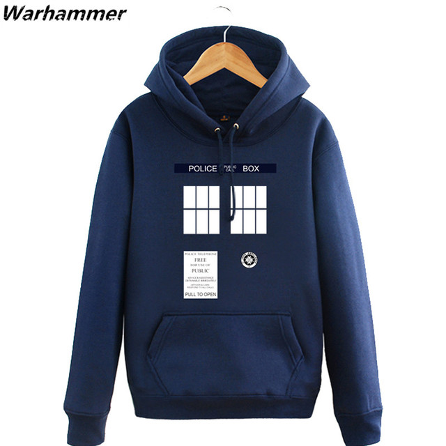 ed6440698ce1 Doctor Who Hoodies Mens Tardis Call Box Pullover Sweatshirts Printed Womens  Hooded tracksuit Winter Fleece Blue Big Size Jackets