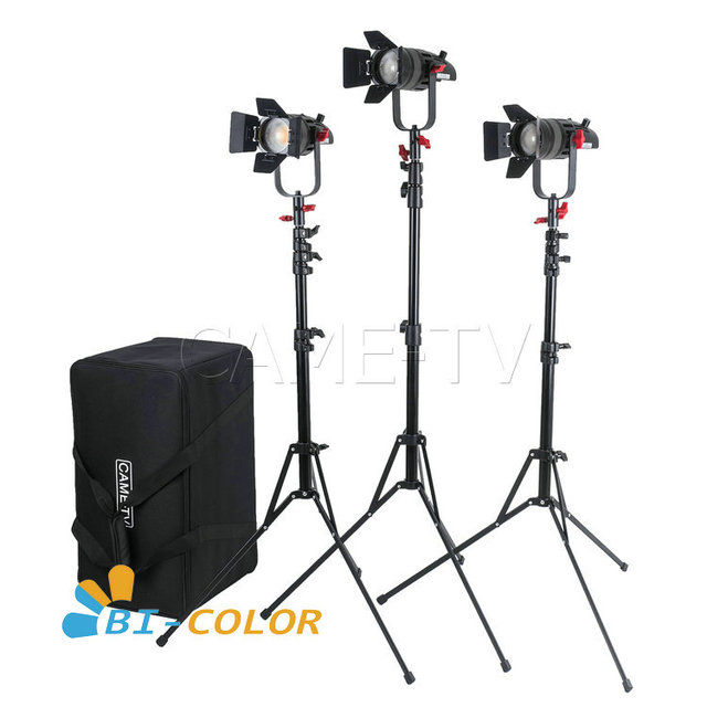 3 Pcs CAME TV Boltzen 30w Fresnel Fanless Focusable LED Bi Color Kit With Light Stands
